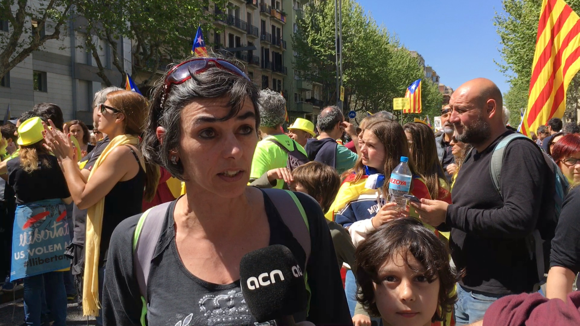 Pro-independence supporters explain their reasons for protesting on Sunday
