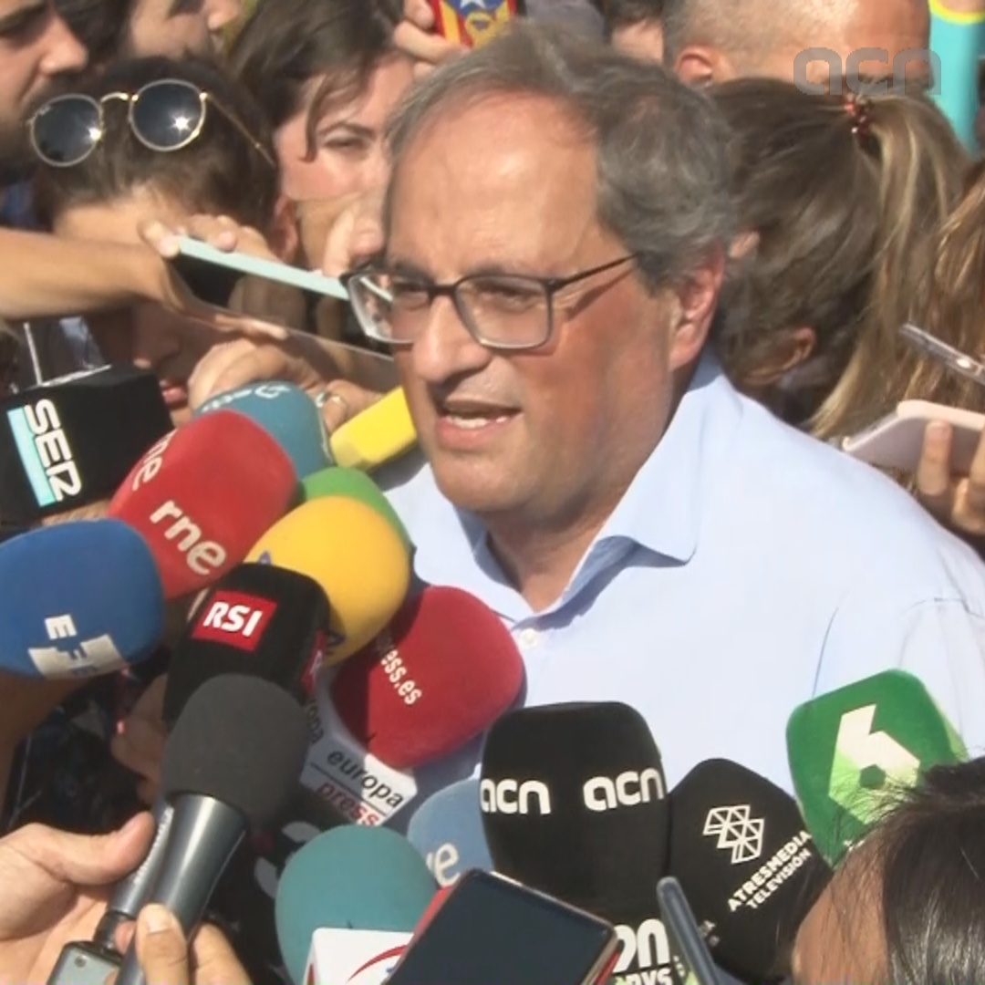 President Torra praises Diada as 'another show of the determination of Catalans'