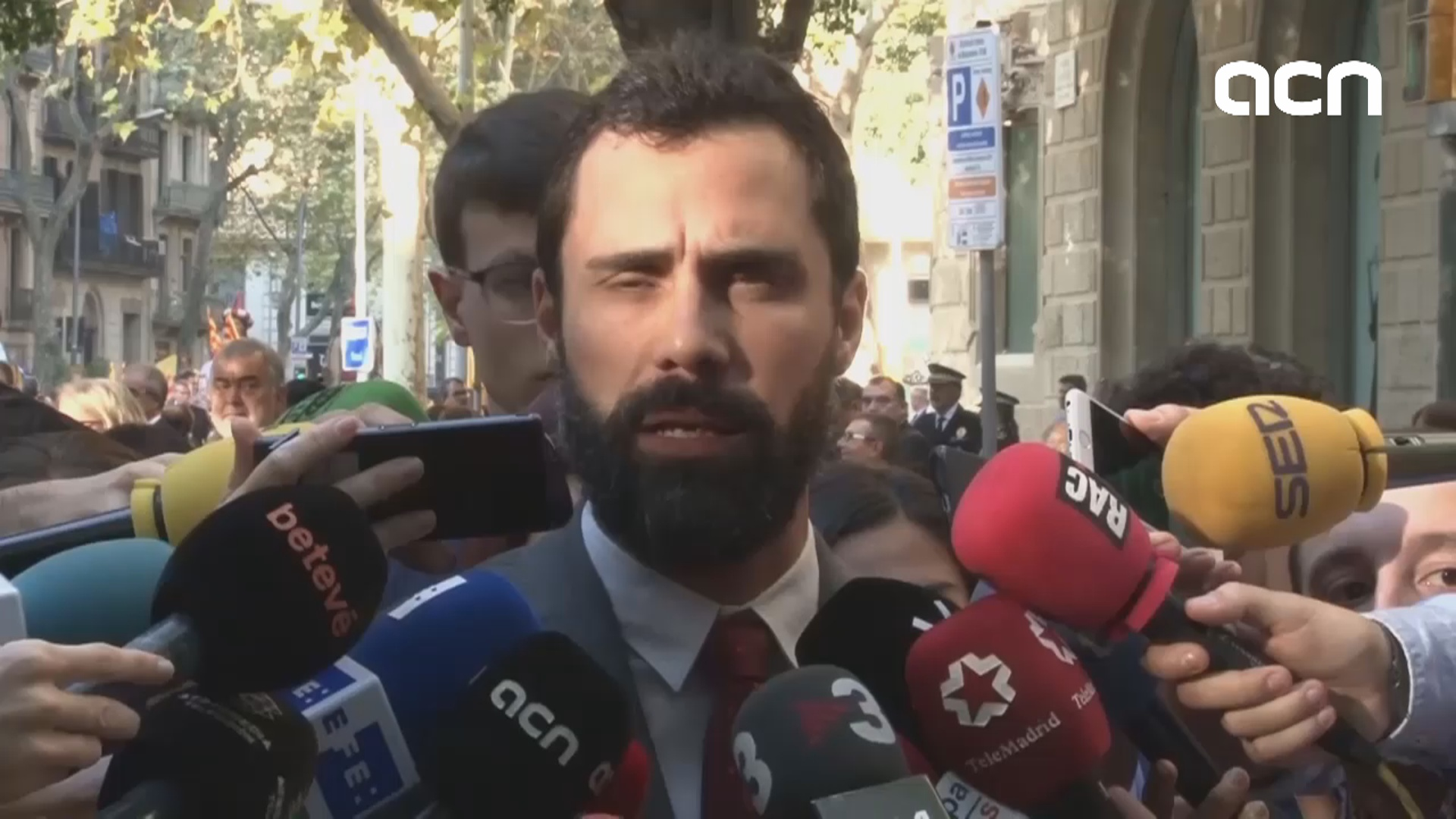 "Today's ""National Day is an exceptional day, because we have political prisoners and exiles,"" says speaker Roger Torrent"