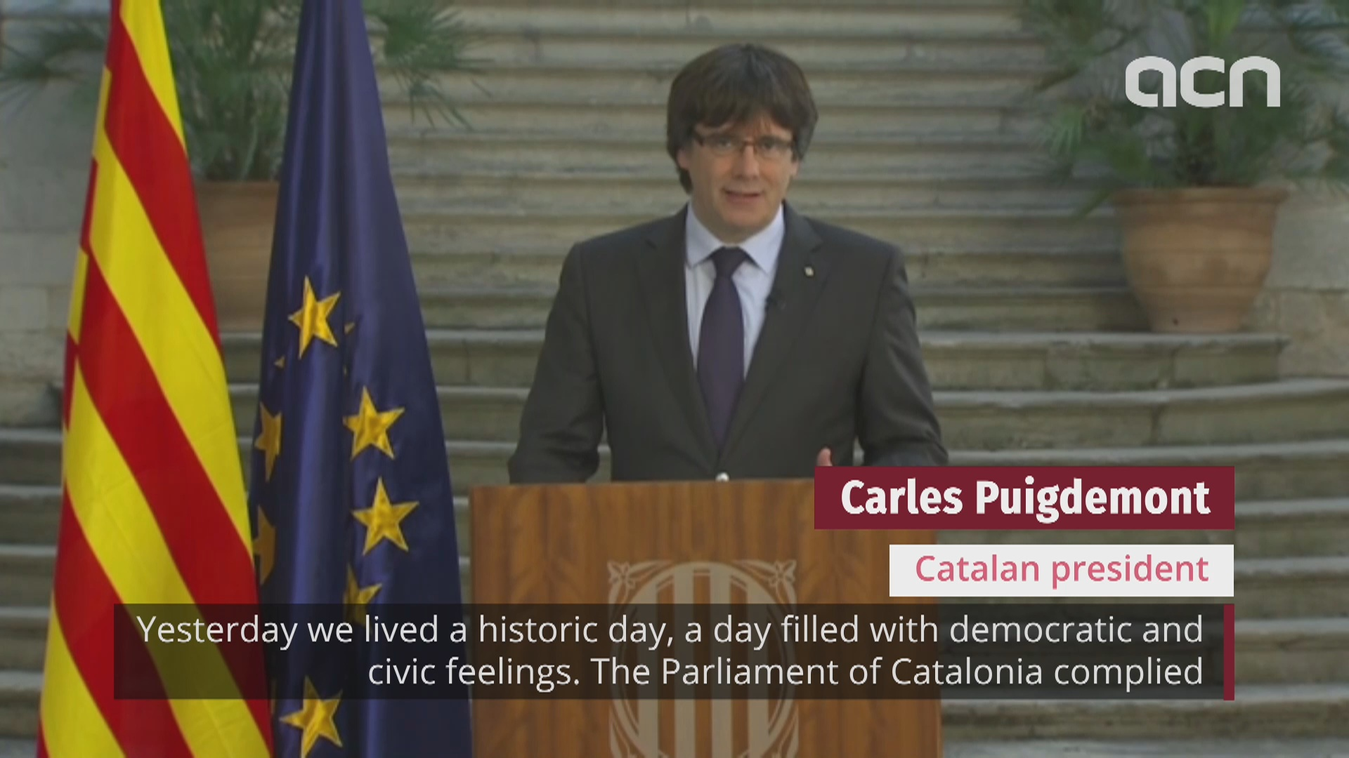 "Catalan president calls people to ""democratically oppose"" Madrid takeover"