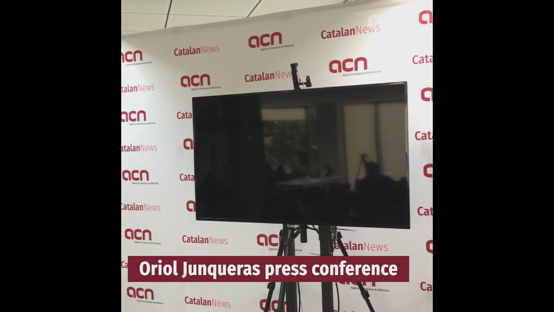 Oriol Junqueras press conference via video link, hosted by the Catalan News Agency