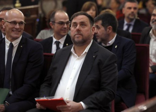 The defendants on the first day of the Catalan trial
