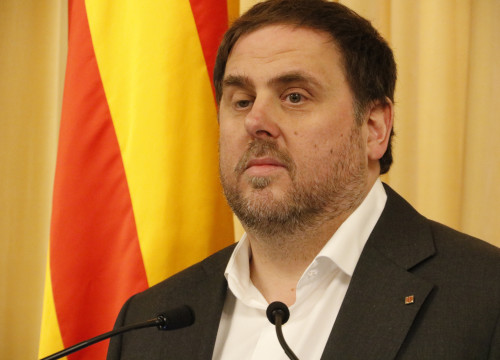 Catalan Vice President and Minister for Economy, Oriol Junqueras, addressing the media after presenting  the budget for 2017 (by ACN)