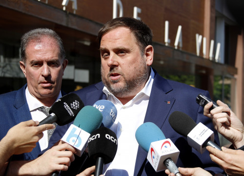 Catalan VP, Oriol Junqueras, addressing the press (by ACN)