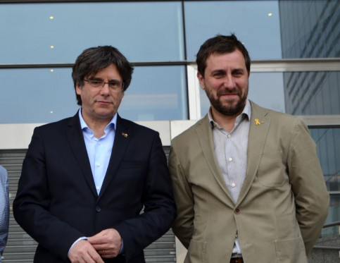 JxCat's Carles Puigdemont and Toni Comín on May 26 (ACN/Blanca Blay)