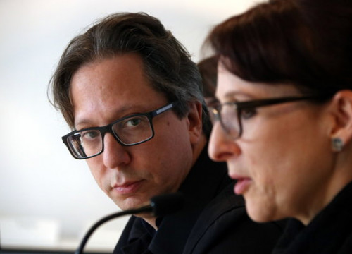 MACBA director Ferran Barenblit (left) listens to museum curator Tanya Barson at a press conference on February 28 2019 (by Pau Cortina)