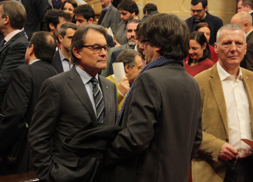 Image of current Catalan President, Artur Mas and the upcoming Catalan President and, Carles Pugidemont (by ACN)