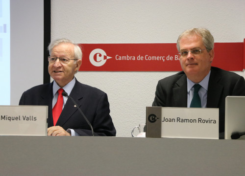 The president of the Chamber of Commerce, Miquel Valls (left), and his head of investigation, Joan Ramon Rovira (by ACN)