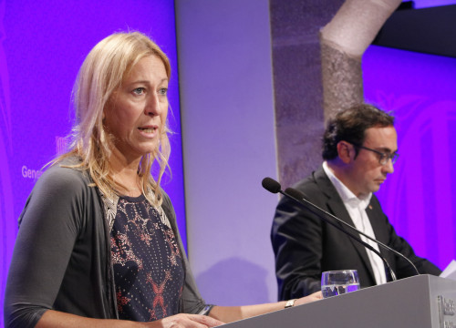Catalan Government's Spokeswoman Neus Munté and Catalan Minister for Planning and Sustainability Josep Rull (by ACN)