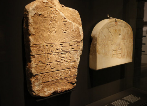 One of the engravied tablets at the exhibit on Egyptian pharaohs in Girona on February 19 2019 (by Aleix Freixas