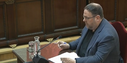 Oriol Junqueras shares his closing remarks in court on June 12