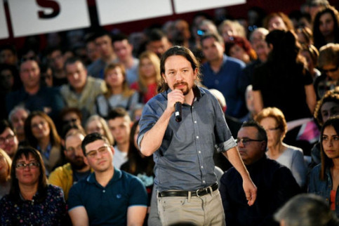 Pablo Iglesias, Unidas Podemos candidate in the Spanish elections, speaks at a campaign act (photo by Podemos)