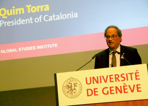 President of Catalonia Quim Torra speaks at a university conference in Geneva on October 17 2018 (by Alan Ruiz)