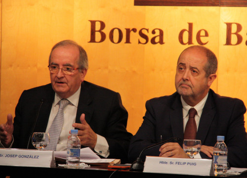 Catalan SME's association PIMEC's president, Josep González and Catalan Minister for Business and Labour, Felip Puig (by ACN)