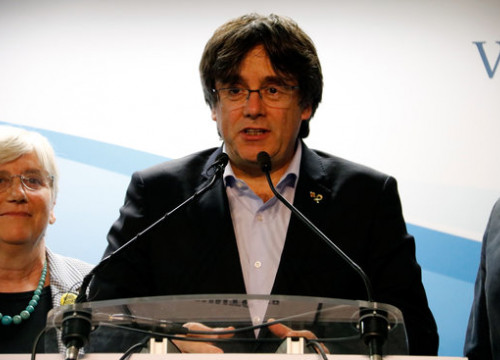 Carles Puigdemont gave a victory speech from Brussels