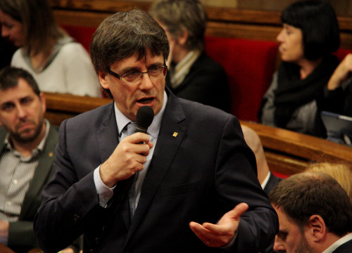 Catalan President, Carles Puigdemont, during the Parliament's plenary session this Wednesday (by ACN)