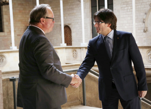 Catalan President Carles Puigdemont and ALDE President and MEP Hans Van Baalen (by ACN)