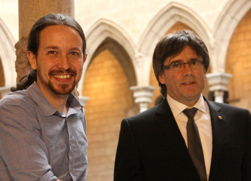 he Catalan President, Carles Puigdemont, and Spanish alternative left 'Podemos' Secretary General, Pablo Iglesias this Friday at Palau de la Generalitat (by ACN)