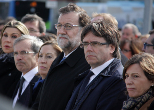 Catalan President, Carles Puigdemont and Current Spanish Prime Minister, Mariano Rajoy, at the institutional homage to the victims of Germanwings' tragedy (by ACN)