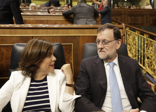 Current Spanish President, Mariano Rajoy, joined by Current Spanish Vice President, Soraya Sáenz de Santamaría (by ACN)
