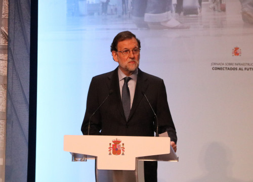 Spanish President, Mariano Rajoy, during the conference 'Connected to the future' in Barcelona (by ACN)