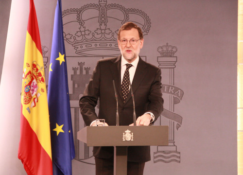 Image of Current Spanish Prime Minister, Mariano Rajoy during a press conference after Catalan President, Carles Puigdemont's investiture (by ACN)