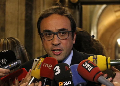 Catalan Minister for Territory and Sustainability, Josep Rull, before the press (by ACN)