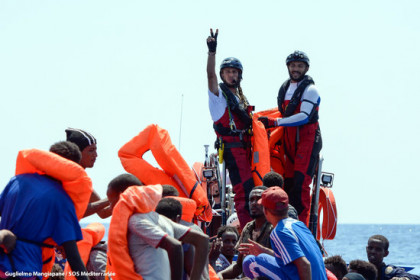 Refugees on the now defunct Aquarius migrant ship