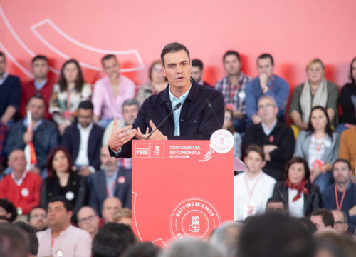 Sánchez speaks at a PSOE act on February 17 2019 (photo courtesy of PSOE)