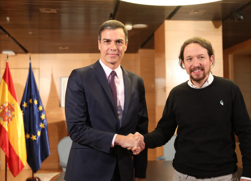 Socialists' Pedro Sánchez and Podemos' Pablo Iglesias at a meeting on June 11, 2019 (PSOE)