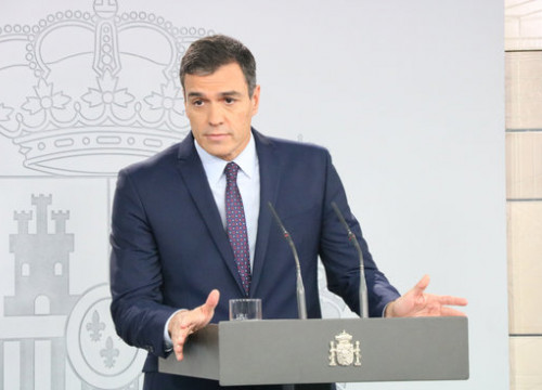 Spanish president Pedro Sánchez at a press conference to address the Supreme Court verdict (by Roger Pi de Cabanyes)
