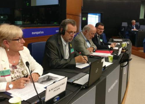 The Aranese Academy of the Occitan Language delegation speaks at the Minority Intergroup meeting at the European Parliament in Strasbourg on September 13 (by ACN)