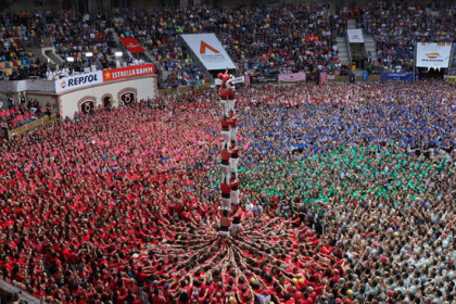 The Joves Xiquets de Valls colla perform at the Tarragona human towers competition on October 7 2018 (by Violeta Gumà)
