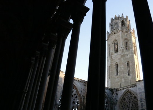 The belltower for the Seu Vella de Lleida seen from the cloister on January 9 2019 (by Laura Cortés)