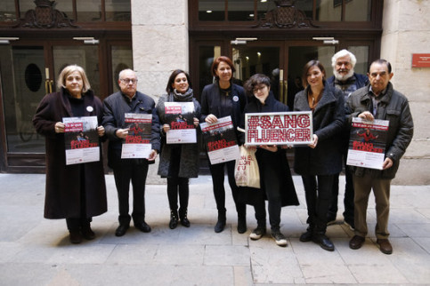The president of the Girona blood bank and the mayor of Girona on January 7 2018 (by Aleix Freixas)