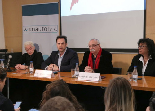 The presidents of Unauto VTC in Spain and Catalonia Eduardo Martin and Josep Maria Goñi at a press conference in Barcelona on  January 24 2019 (by Andrea Zamorano)
