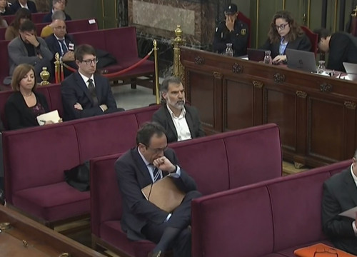 The prosecuted leaders sit in the dock on Tuesday April 2 2019 (screenshot from the Spanish Supreme Court)