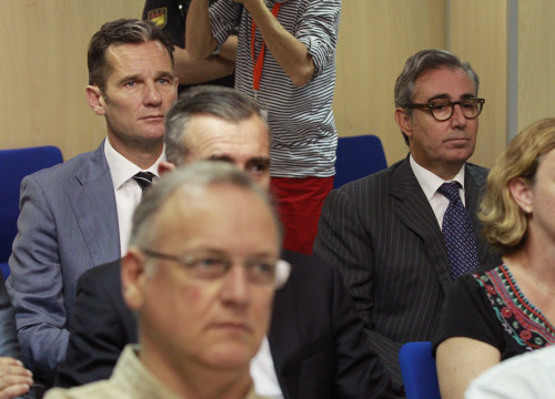 Former Duke of Mallorca and Spain's King brother-in-law, Iñaki Urdangarín, and his business partner Diego Torres during 'Nóos Case' trial (by ACN)