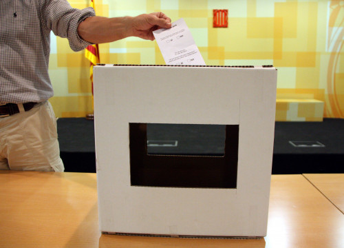 Image of the ballot boxes used on the 9th of November symbolic vote on independence, in 2014