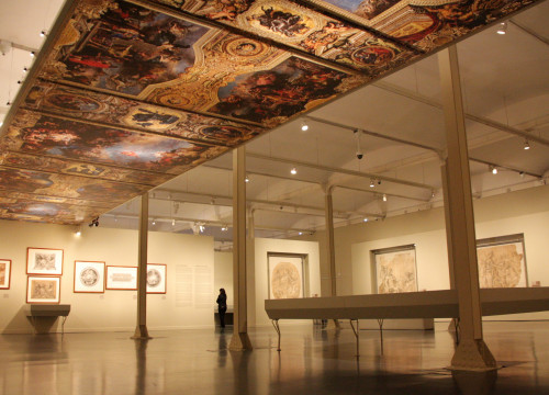 The main room of 'Drawing Versalles. Charles Le Brun (1619-1690)' exhibition in Barcelona CaixaForum (by ACN)