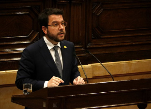 Vice president and finance minister Pere Aragonès speaks in the Catalan parliament on February 27 2019 (by Guillem Roset)