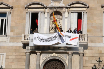 Torra had installed a toned-down symbol in front of the Catalan government building on Thursday morning