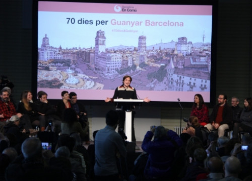 Ada Colau presenting Barcelona en Comú's full list a few days ago (by J. Pérez)