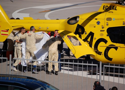 Fernando Alonso had to be airlifted from the circuit (by Wayne O'Connor)