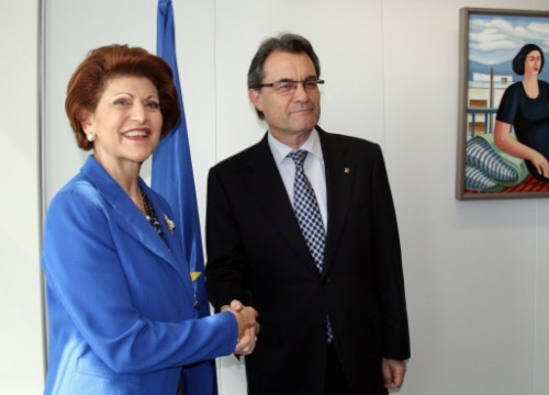 The European Commissioner Androulla Vassiliou and the Catalan President Artur Mas (by L. Pous)