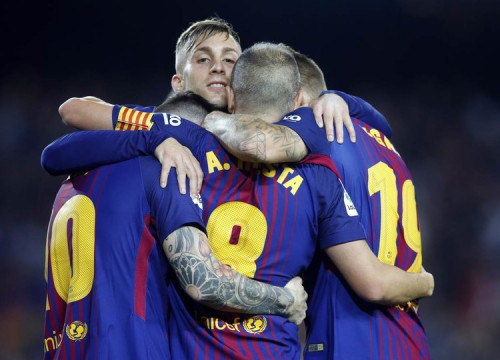 The four players involved with Barça's two goals (by Miguel Ruiz)
