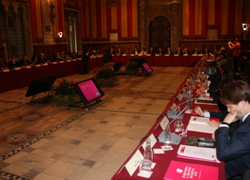 The meeting of the Barcelona Growth Board on Thursday in the City Council's Saló de Cent (by ACN)