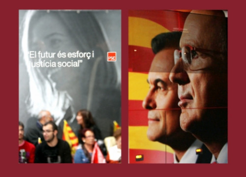 The electoral poster of the PSC (left) and the CiU's (right) (by ACN)