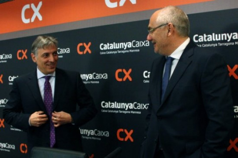 CatalunyaCaixa's President, Manel Rosell (left), and the Director General, Adolf Todó (right) (by J. R. Torné)