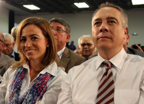 Carme Chacón (left) and Pere Navarro (right) a few months ago (by R. Garrido)